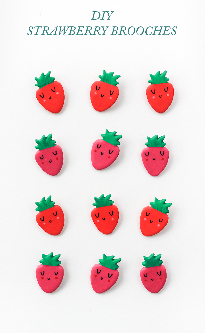 Dress up your wardrobe in no time with these diy clay strawberry brooches!