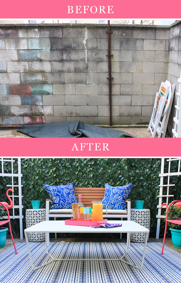 Renter friendly patio makeover. Click through for full before and after!