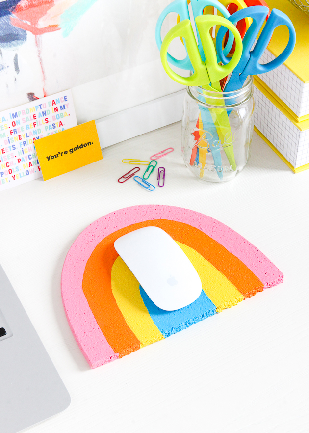 Make this DIY Rainbow Mouse Pad for your desk in two easy steps!