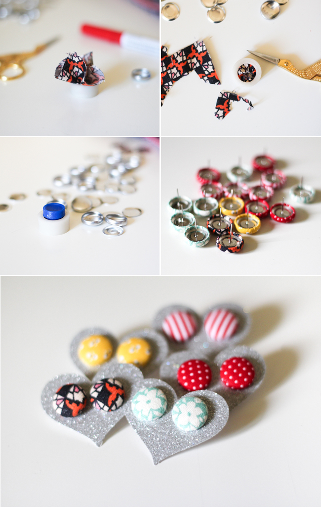 Fabric Covered Button Earrings The Crafted Life