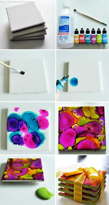 Alcohol Ink Coasters | The Crafted Life