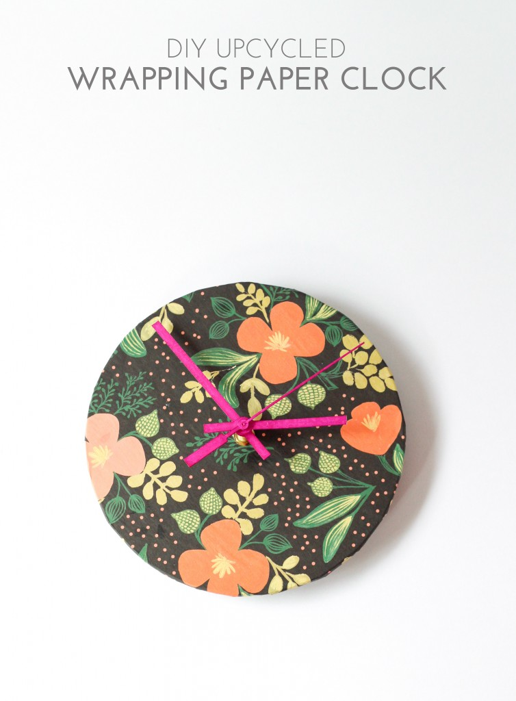 DIY Upcycled Wrapping Paper Clock | The Crafted Life